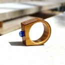 Inel din lemn si sticla fuzionata; Inel eco frendly din lemn; Inel exclusivist din lemn si sticla; Inel peisaj in sticla de purtat pe deget;Inel din sticla si lemn unicat; Wooden ring with millefiori, One of a kind wooden ring