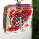 P17002; Pandantiv din sticla fuzionata, Pandantiv peisaj in sticla, Pandantiv unicat, Fused Glass Pendant, Landscape Glass Pendant, One of a kind Pendant, Bijuterie unicat, One of a kind Jewelry