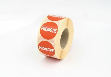 """Rola cu eticheta """"PROMOTIE"""" diametru 40 mm, autoadezive, 1000 buc"""