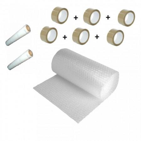 Pachet folie cu bule 100 mp + 6 role scotch + 2 Stretch , folie de 60gr/mp - 2 straturi
