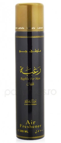 Air Freshener Lattafa Raghba for Man 300ml - Spray de camera