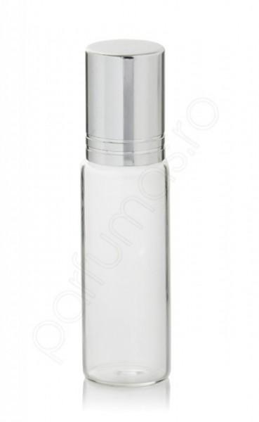 Sticla transparenta 8ml cu roll-on metalic