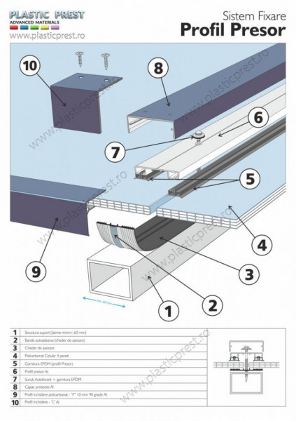 Profil presor din aluminiu (include cheder si garnituri EPDM)