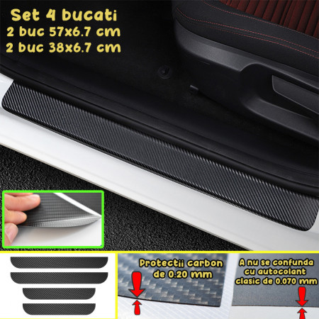 Set 4 Protectii Colant Carbon Praguri Auto