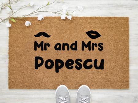 Pres intrare personalizat 40x60 cm cu Mr and Mrs