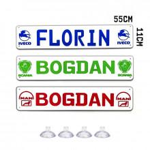 Placa Personalizata Tir cu Numele tau *LOGO CAMION* 55X11cm
