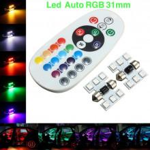 Set leduri auto RGb + telecomanda pentru interiorul autoturismului ( plafon - usi - portbagaj )