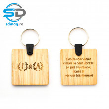 Breloc patrat, lemn, personalizat cu Mesaj + Initiale