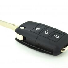 Husa cheie briceag 3 butoane silicon negru VW