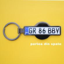 Breloc Auto Metalic Personalizat SD2 NEGRU LUCIOS