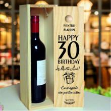 Cutie de Vin Aniversara Personalizata cu varsta, nume si mesaj