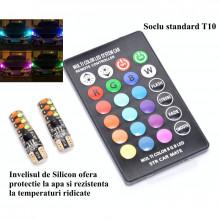 Led Auto T10 RGB , Lumina ambientala sau pozitii de zi, 12V-W5W + Telecomanda