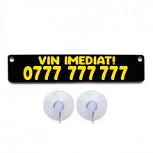 Placa personalizata neagra cu numarul de telefon + 2 ventuze prindere geam