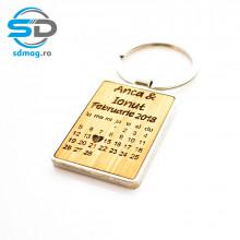 Breloc metalic dreptunghiular + lemn bambus personalizat cu calendar aniversar