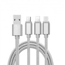 Cablu USB 3 in 1 microusb/Iphone/tip C argintiu