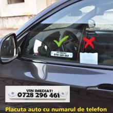 Placa personalizata cu numarul de telefon + 2 ventuze prindere geam