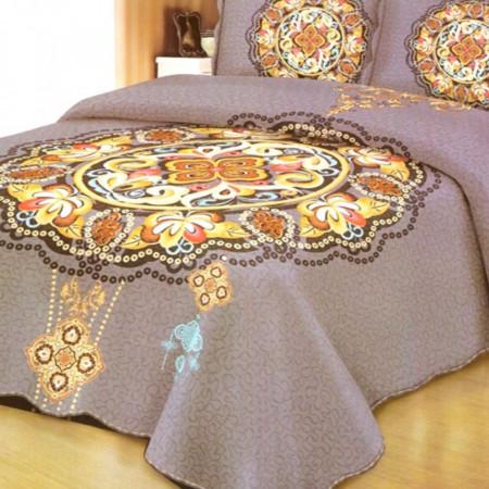 Cuvertura de pat + 2 Fete de Perne, Bumbac Tip Finet, Imprimata, Pat 2 persoane, CFI-26