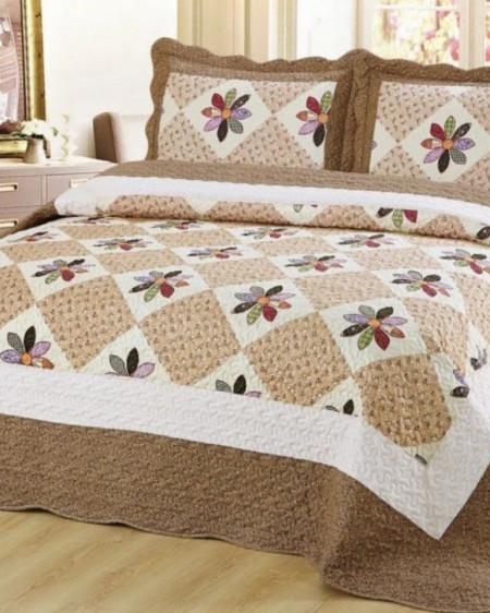Cuvertura de pat + 2 Fete de Perne, Bumbac Tip Finet, Imprimata, Pat 2 persoane, CFI-67