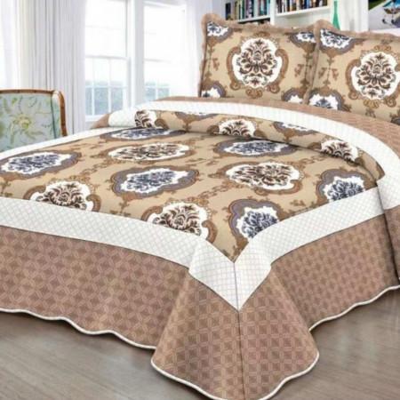 Cuvertura de pat + 2 Fete de Perne, Bumbac Tip Finet, Imprimata, Pat 2 persoane, CFI-98