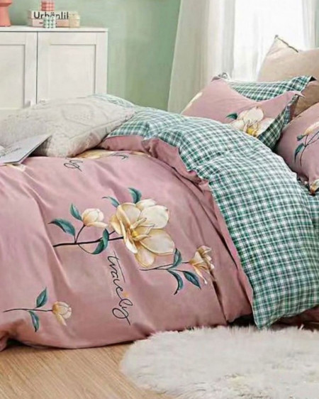 Lenjerie Bumbac, 4 Piese, Pat 2 Persoane, Lovely, BL4-65