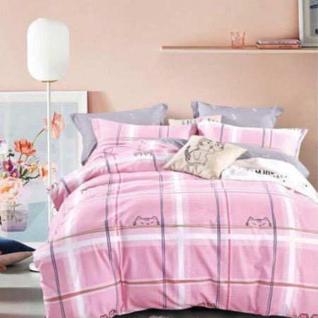 Lenjerie Bumbac Satinat Superior, 4 Piese, Pat 2 Persoane, Pink Cats, BSJ-19