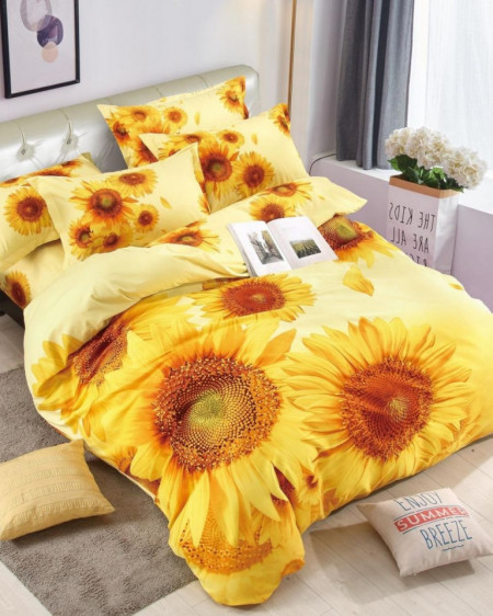 Lenjerie de Pat din Finet, Pat 2 Persoane, Sunflower, FNJ-230