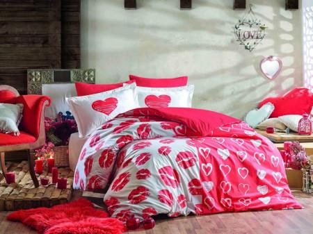 Lenjerie de pat dubla Love Me Red, Hobby, 4 piese, 240 x 260 cm, 100% bumbac ranforce, alb/rosu