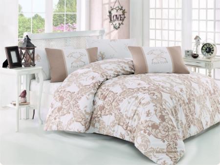 Lenjerie de pat pentru o persoana, Elegance, Beverly Hills Polo Club, 3 piese, 160 x 240 cm, 100% bumbac ranforce, crem/alb