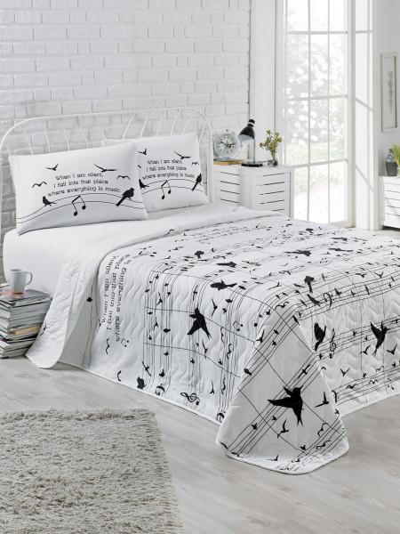 Set cuvertura de pat dubla matlasata, EnLora Home, Note Black White, 3 piese, 65% bumbac, 35% poliester, alb/negru