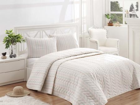 Set cuvertura de pat dubla matlasata, EnLora Home, Tunica Cream, 3 piese, 65% bumbac, 35% poliester, crem