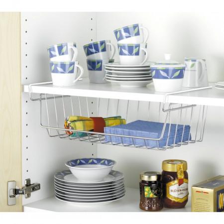 Suport depozitare pentru raft, Shelf, Wenko, 44 x 15 x 27 cm, metal cromat, argintiu