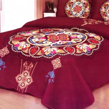 Cuvertura de pat + 2 Fete de Perne, Bumbac Tip Finet, Imprimata, Pat 2 persoane, CFI-27