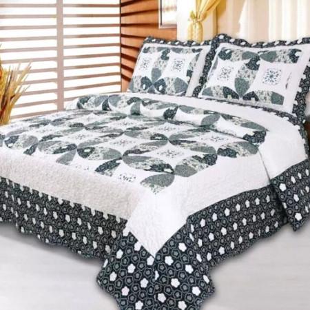 Cuvertura de pat + 2 Fete de Perne, Bumbac Tip Finet, Imprimata, Pat 2 persoane, CFI-41