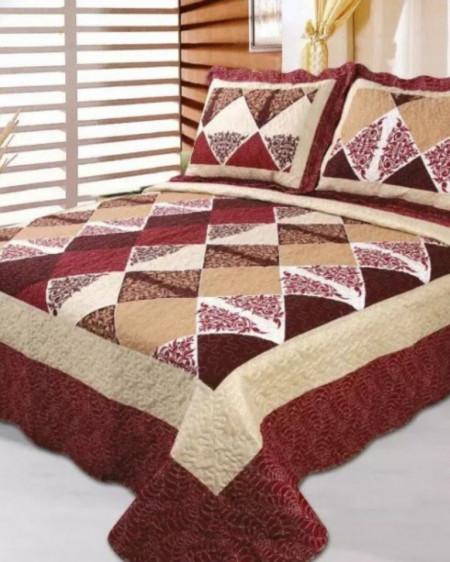 Cuvertura de pat + 2 Fete de Perne, Bumbac Tip Finet, Imprimata, Pat 2 persoane, CFI-68