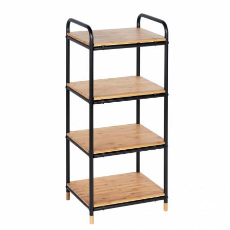 Etajera cu 4 rafturi Loft, Wenko, 42 x 94.5 cm, bambus/metal, natur/negru