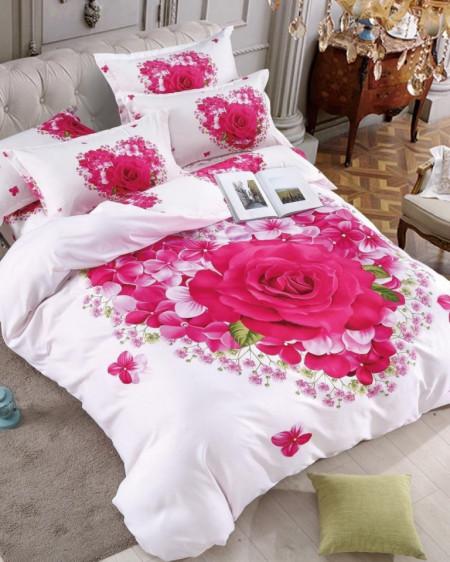 Lenjerie de Pat din Finet, Pat 2 Persoane, Pink Rose, FNJ-222