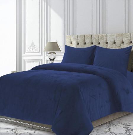 Set cuvertura Ocean, Heinner Home, 200x220 cm, catifea, albastru