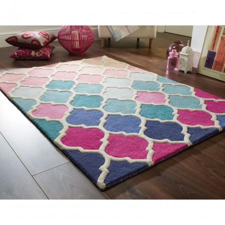 Covor Illusion Rosella, Flair Rugs, 80 x 150 cm, 100% lana, roz/bleu