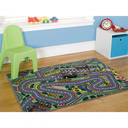 Covor Kiddy Play Racing Car Boy, 80X100 cm, multicolor