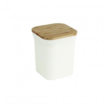 Cutie pentru alimente Bamboo, Jocca, 12 x 12 x 14 cm, bambus, alb/natur