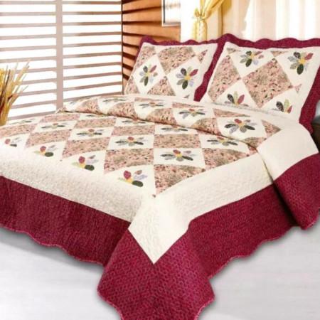 Cuvertura de pat + 2 Fete de Perne, Bumbac Tip Finet, Imprimata, Pat 2 persoane, CFI-42