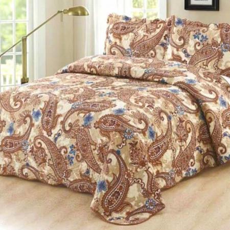 Cuvertura de pat + 2 Fete de Perne, Bumbac Tip Finet, Imprimata, Pat 2 persoane, CFI-59