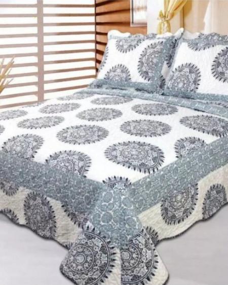 Cuvertura de pat + 2 Fete de Perne, Bumbac Tip Finet, Imprimata, Pat 2 persoane, CFI-69