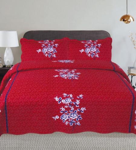 Cuvertura de pat + 2 Fete de Perne, Bumbac Tip Finet, Imprimata, Pat 2 persoane, CFI-90