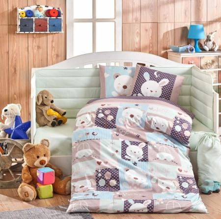 Lenjerie de pat pentru copii, 4 piese, 100% bumbac poplin, Hobby, Snoopy, multicolor
