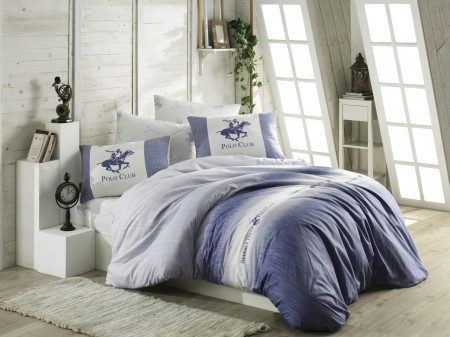 Lenjerie de pat pentru o persoana, Exclusive Blue, Beverly Hills Polo Club, 3 piese, 160 x 240 cm, 100% bumbac ranforce, albastru/alb/gri