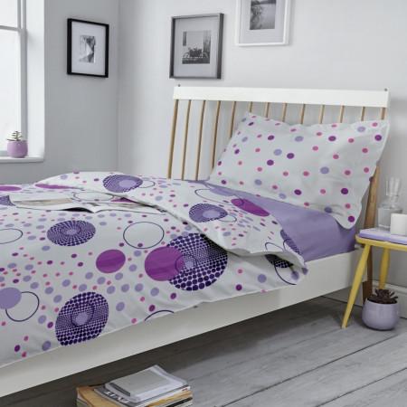 Lenjerie de pat pentru o persoana, Kinetics V.1, 3 piese, 160 x 220 cm, 100% bumbac ranforce, alb/mov