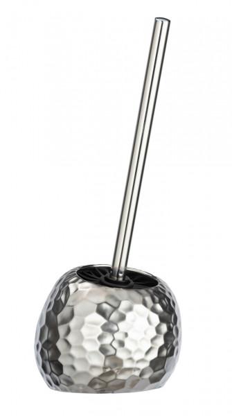 Perie pentru toaleta cu suport Lunas, Wenko, 39.5 x 15 cm, ceramica, argintiu