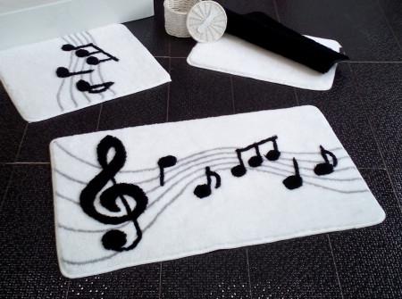 Set 3 covorase de baie, Chilai, Melodi - White, alb/negru