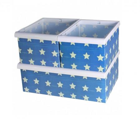 Set 3 cutii de depozitare Stars, Jocca, plastic, alb/albastru